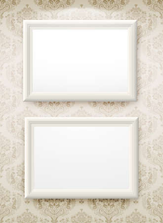 3d interior picture: 3d empty frame on the wall. Vintage background Illustration