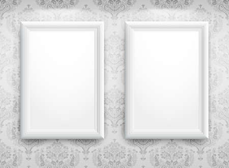 3d empty frames on the wall. Vintage background Vector