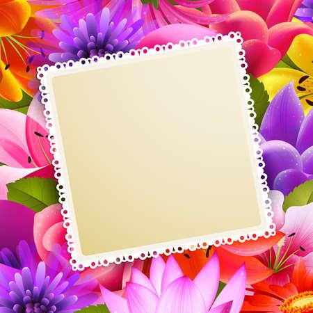 red and yellow card: tarjeta de felicitaci�n cosecha con lugar para texto sobre fondo de flor Vectores