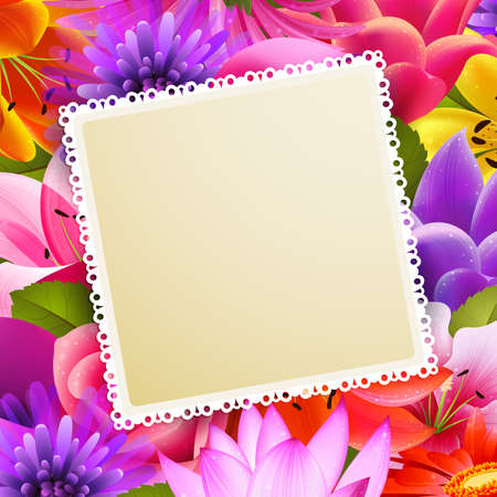 place for text: vintage greeting card with place for text on flower background Illustration