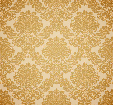 rococo style: Damask seamless floral pattern. Vintage vector illustration.