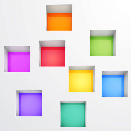 colorful light display: 3d Empty shelves for exhibit in the wall. Vector illustration.