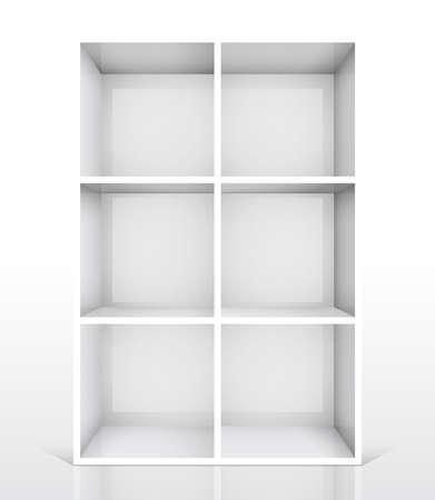 3d isolated Empty white bookshelf. Vector illustration Stock Vector - 9194585