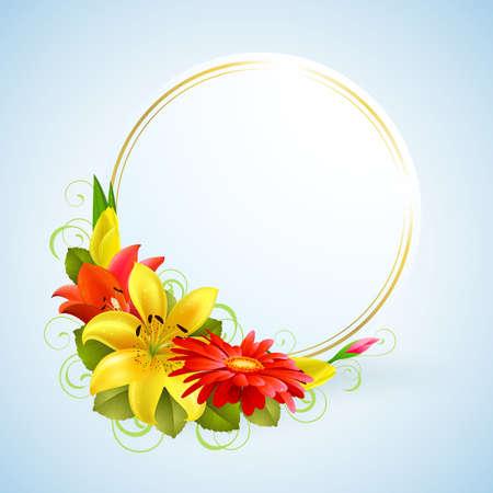 gerbera daisy: tarjeta de felicitaci�n con flores y lugar para texto Vectores
