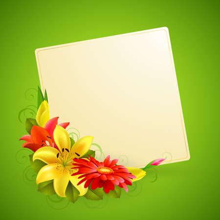 season greetings: carte de voeux avec des fleurs et de la place pour le texte Illustration