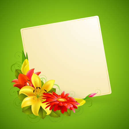 saludo: tarjeta de felicitaci�n con flores y lugar para texto Vectores