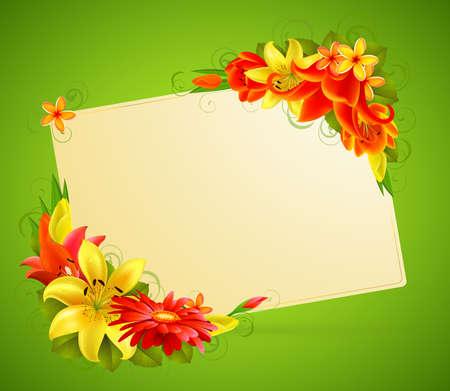 tarjeta de felicitación con flores y lugar para texto