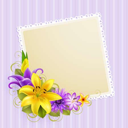 带有鲜花和文字的老式贺卡