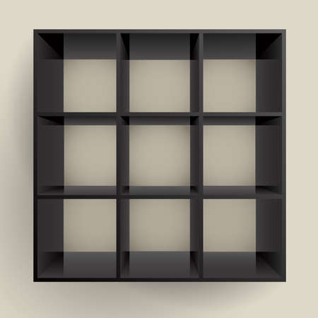 3d isolated Empty black bookshelf.   Vector
