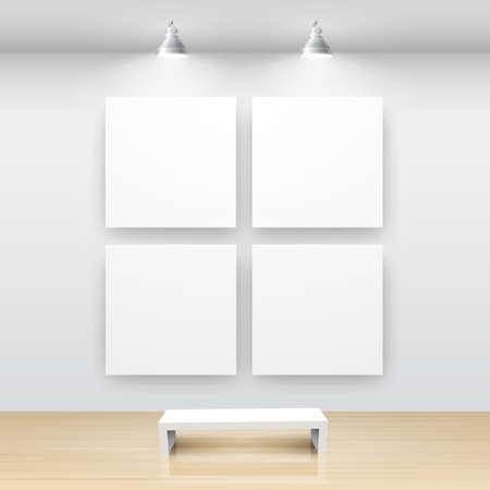 art museum: Galleria interni con cornice vuota sul muro