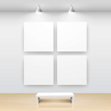 Gallery Interior with empty frame on wall Stock Vector - 9316195