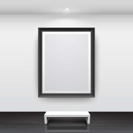 Galerijbinnenland met leeg zwart kader op muur