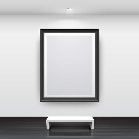 black picture frame: Gallery Interior with empty black frame on wall