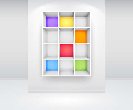 expo: 3d isolated Empty colorful bookshelf on the wall.  Illustration