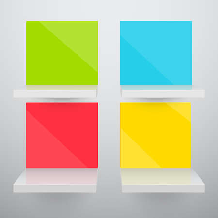 3d isolated Empty colorful shelves for exhibit.   Vector
