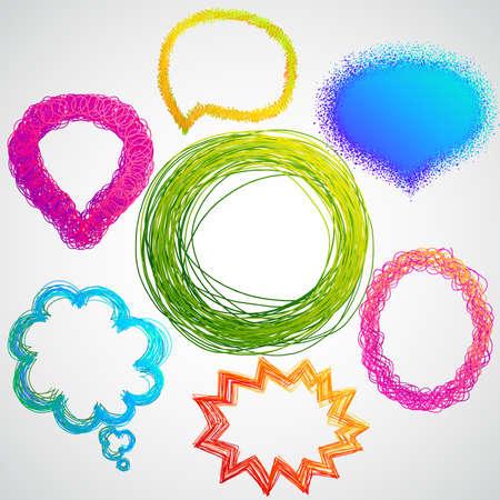lapiz y papel: burbujas de expresi�n y pensamiento de colorido dibujado a mano