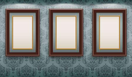 Houten frames op de muur. Vintage achtergrond Vector Illustratie