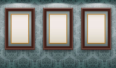 gallery wall: Wooden frames on the wall. Vintage background Illustration