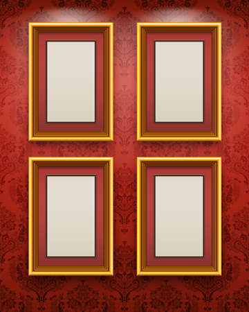 beautyful: Wooden frames on the wall. Vintage background Illustration