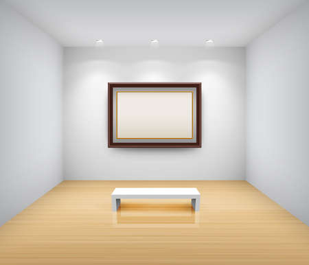 Gallery Interior with empty frame on wall Vector