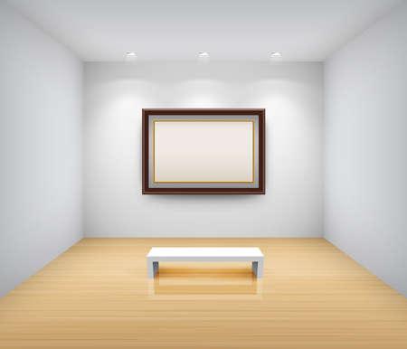 exposition art: Int�rieur de la galerie avec cadre vide sur le mur