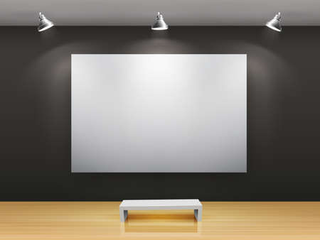 art gallery: Dark gallery Interior with empty frame on wall