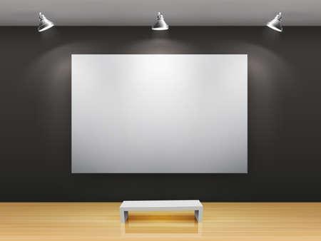 an exposition: Galleria oscura interni con cornice vuota sul muro Vettoriali