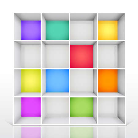3d isolated Empty colorful bookshelf.  Vector