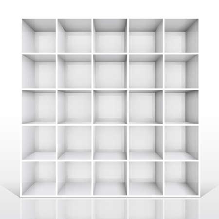 estanterias: 3D estanter�a blanca vac�a aislado.