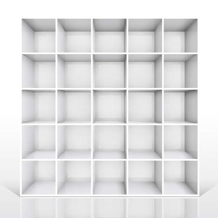 3d isolated Empty white bookshelf.   Vector