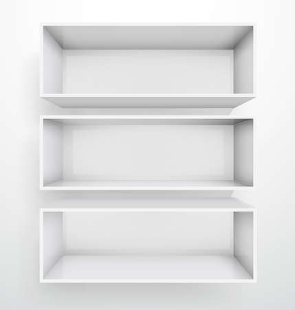 3d isolated Empty white bookshelf.  Stock Vector - 9316186