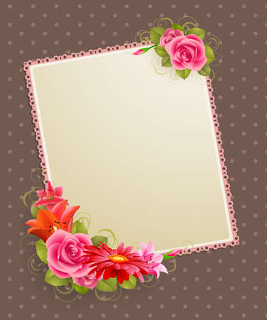 place for text: vintage greeting card with flowers and place for text