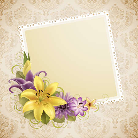 vintage greeting card with flowers and place for text Stock Vector - 9316211
