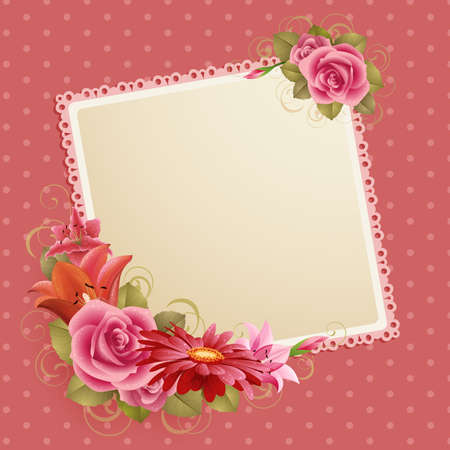 vintage greeting card with flowers and place for text Stock Vector - 9316190