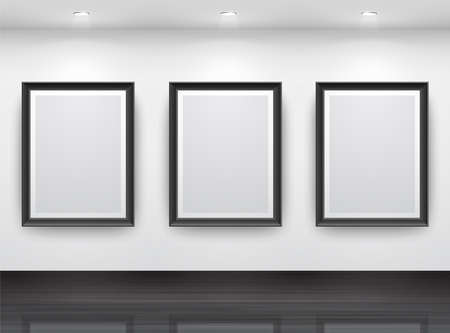 art gallery: Gallery Interior with empty black frameN? on wall
