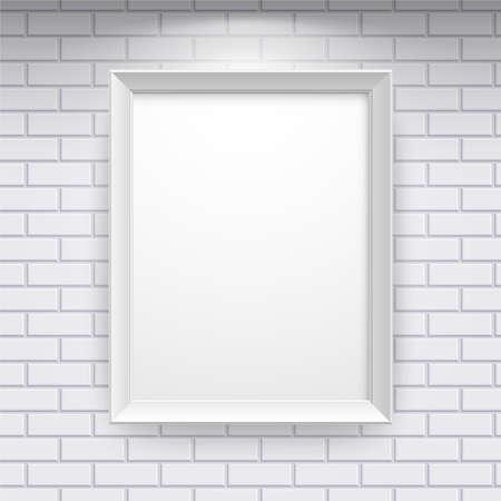 설치: 벽돌 벽에 빈 프레임 갤러리 내부