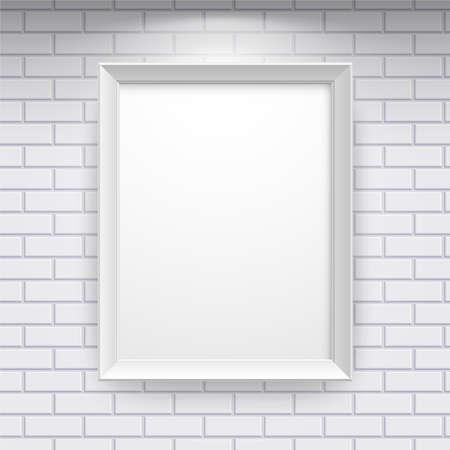 Gallery Interior with empty frame on brick wall Stock Vector - 9566406