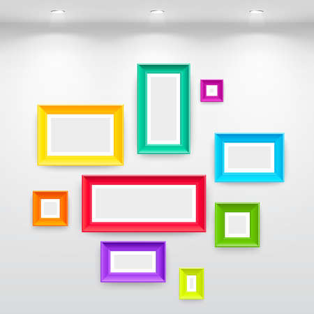Gallery Interior with empty colorful frames on wall Vector