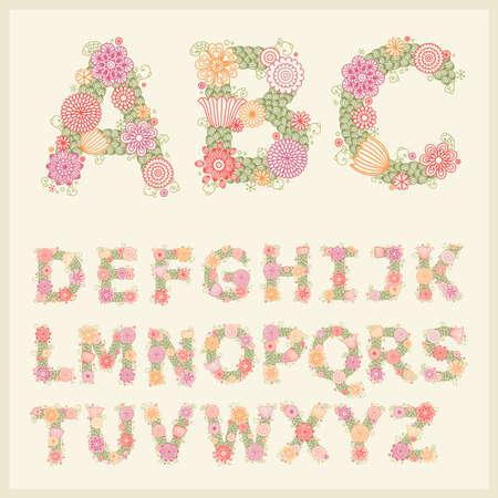 retro font: carattere di fiori colorati.  Vettoriali