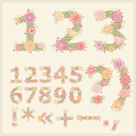 colorful flower font. Vector