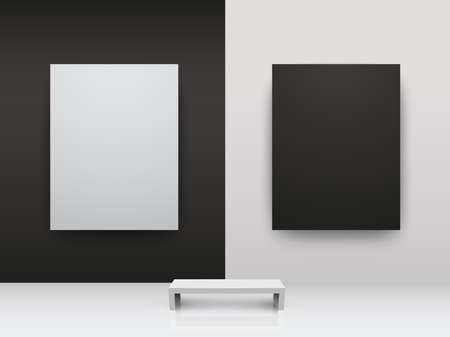 Dark and light gallery Interior with empty frames on wall Vector