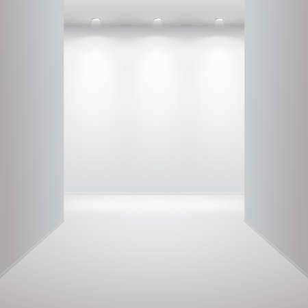 light room: Gallery Interior with empty wall and lights Illustration