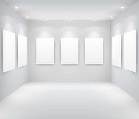 Galerie interieur met lege frames op de muur