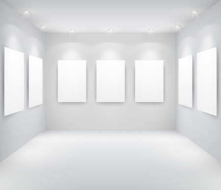 Gallery Interior with empty frames on wall Stock Vector - 9566423