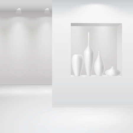 store window: Galerie interieur met niche binnen de paneel