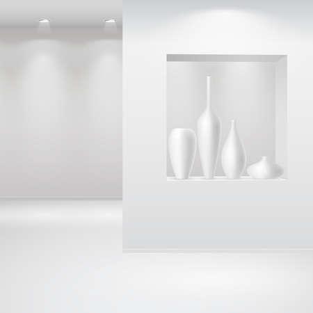 Intérieur Galerie avec une niche à l'intérieur du panneau de