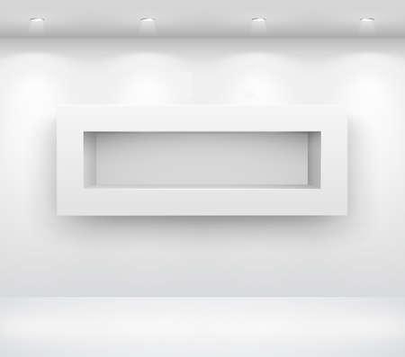 showcase interior: Galleria interni con scaffale vuoto sul muro