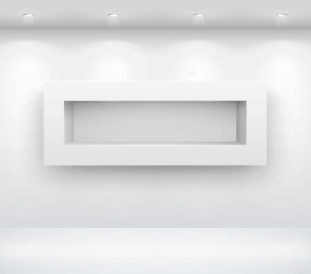 Gallery Interior with empty shelf on wall Vector