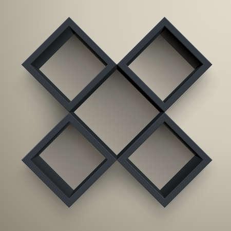 3d isolated Empty black bookshelf. Stock Vector - 9566444
