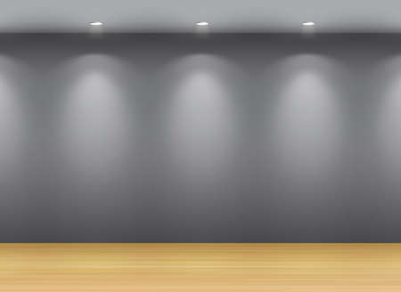 Dark gallery Interior with empty frame on wall Vector